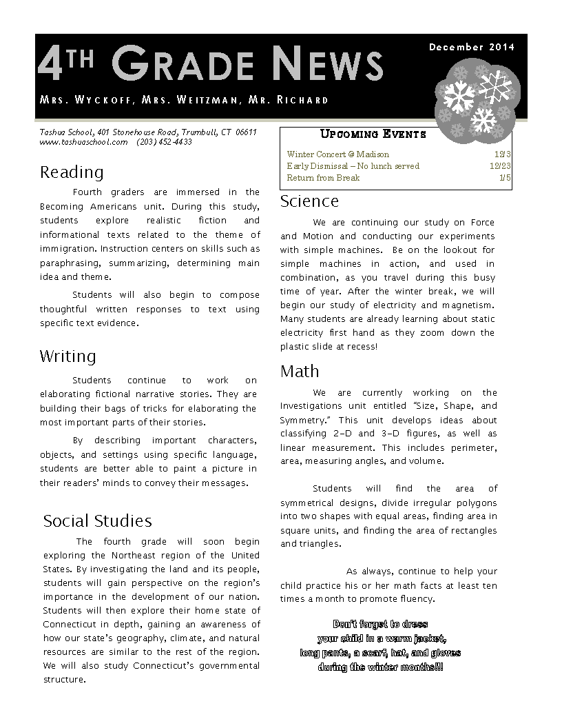 Fourth Grade Monthly Newsletter
