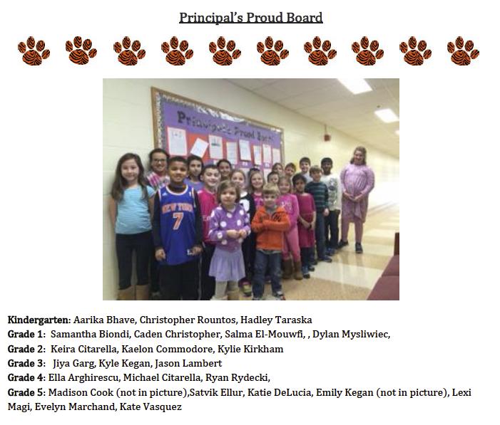 Principal's Proud Board -January 2015