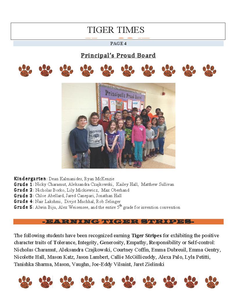 Principal's Proud Board – May 2015