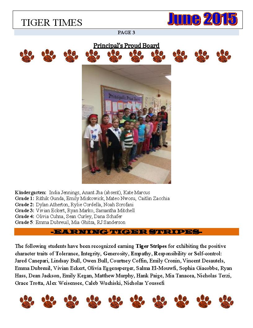 Principal's Proud Board – June 2015