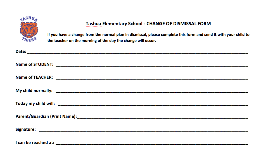 Remember to use a Change in Dismissal Form