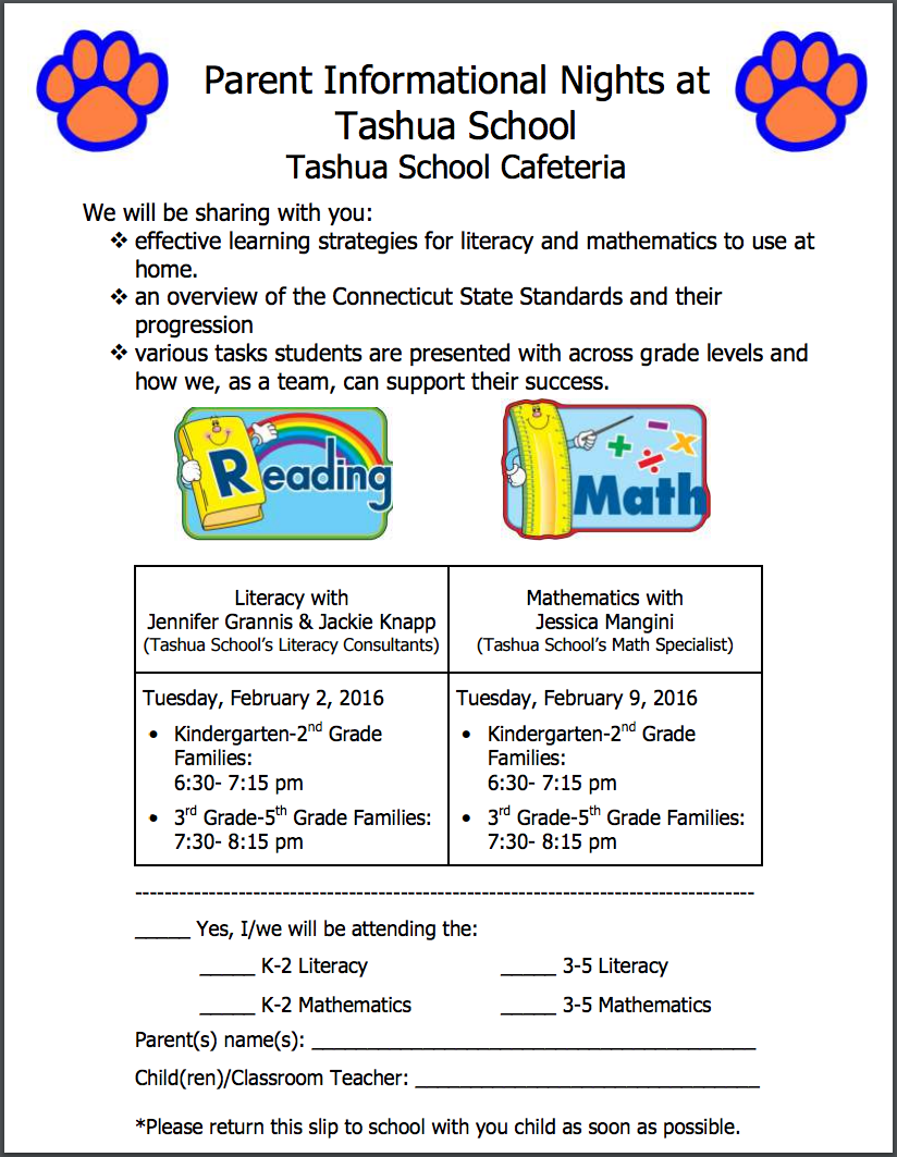 Parent Informational Nights – Feb. 2, 2016 & Feb. 9, 2016